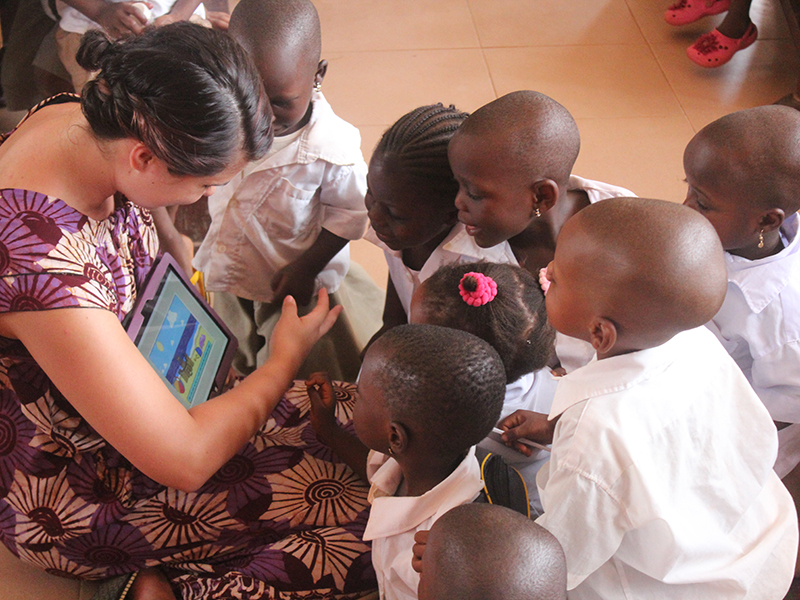 Student teaching in Benin