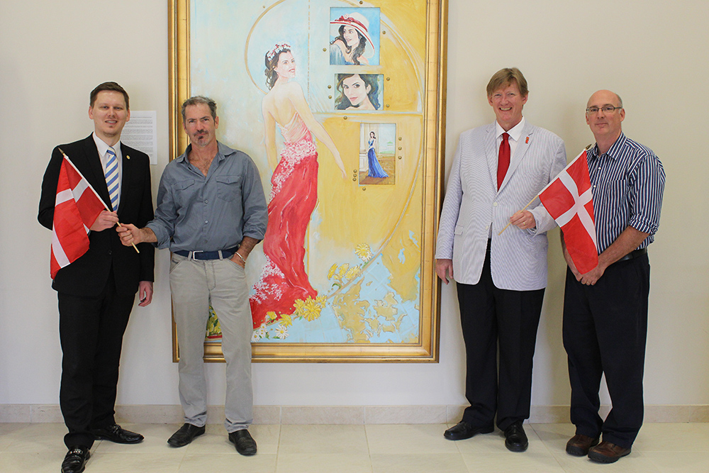 Portrait of Danish Crown Princess Mary with artist, Danish honorary consul general, and representatives of the Division of Global Affiars